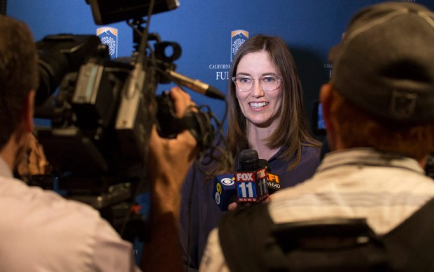 Jocelyn Read, assistant professor of physics, was among 15 Women of the Year in science and technology honored by state Sen. Josh Newman, D-Fullerton, for making a difference in the 29th Senate District. (Photo courtesy of Cal State Fullerton)