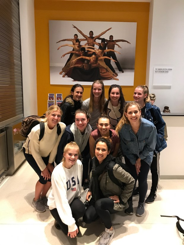 Crean Lutheran High School dancers at the Alvin Ailey studios in New York in April 2017. From left, top row: Kate Panichi, Rachel Chamberlin, Melia Masumoto, Anna Ellwein; middle row: Emma Allen, Ashley Lauro, Isabelle Fangary, Hannah Kelly; bottom row: Molly O'Brien, Alyssa Jones. (Photo courtesy of Lora Chamberlin)