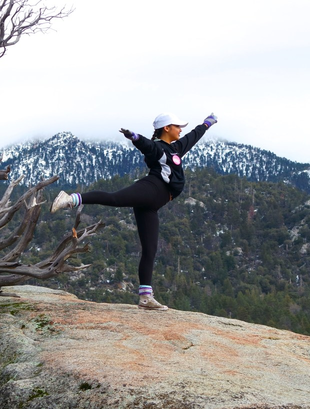 Jacqueline Partida in arabesque on the top of a mountain in Idyllwild during a trip in 2017 with Santa Ana High School. (Photo courtesy of Barbara Noel)