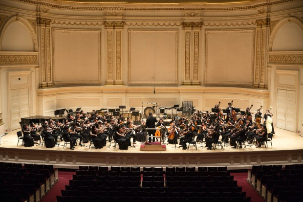 The Beckman High School orchestra performs on stage at Carnegie Hall during a trip to New York in April 2017. (Photo courtesy of Beckman High School)