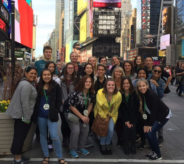 Laguna Hills High School theater students in Times Squre during a trip to New York in 2017. (Photo courtesy of Laguna Hills High School)