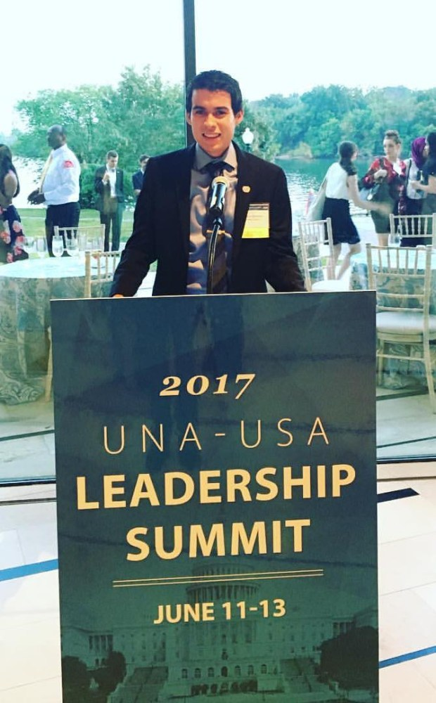 Marco Sanchez, program director and former president of CSUF's Generation United Nations chapter, attended the UNA-USA Leadership summit with three other Cal State Fullerton students. (Photo courtesy of Marco Sanchez)