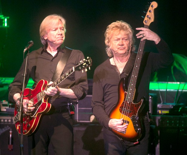 "Justin Hayward and John Lodge perform during a 2015 concert from the Moody Blues. The band is on tour celebrating the 50th anniversary of ""Days of Future Passed."" (File photo by Armando Brown)"