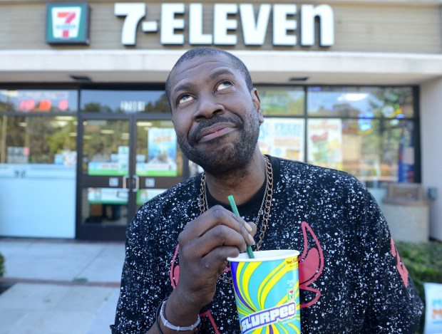 "Seven-Eleven customer Curtis James Deshawan Norris sucked on a Slurpee and fantasized what he would do if he had bought the winning ticket at this Laguna Hills store. ""I would take care of as many people as I could. And then I'd get my crash test dummy factory going,"" he saidThe winner of the Mega Lotto will get $61 million dollars. The lucky winner bought his ticket at this 7-Eleven in Laguna Hills, CA on Saturday, April 29, 2017. (Photo by Bill Alkofer,Orange County Register/SCNG)"