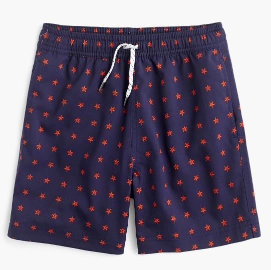 Navy swim trunks with little red stars, JCrew, $55. (handout photo)