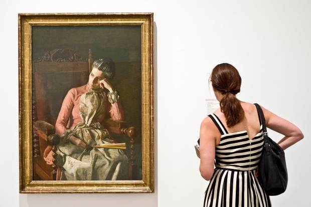 """""""Miss Amelia Van Buren,"""" an 1891 painting by Thomas Eakins on display at the Orange County Museum of Art's new gallery, """"American Mosaic: Picturing Modern Art Through the Eye of Duncan Phillips.""""///ADDITIONAL INFORMATION: OCMAPhillips.0814 Ð 8/10/16 Ð NICK AGRO, ORANGE COUNTY REGISTER- Newest exhibit at OCMA, """"American Mosaic: Picturing Modern Art Through the Eye of Duncan Phillips."""" Aug. 6 - Dec. 4. Traveling show of highlights from the Phillips Collection museum in Washington, D.C., focused on American art from the late 19th and early 20th centuries that gave rise to later modern American art. Edward Hopper, Georgia O'Keeffe, etc. This show is part of OCMA's ongoing effort to widen its focus beyond modern and contemporary art to include earlier art, design art and Asian Pacific art."""