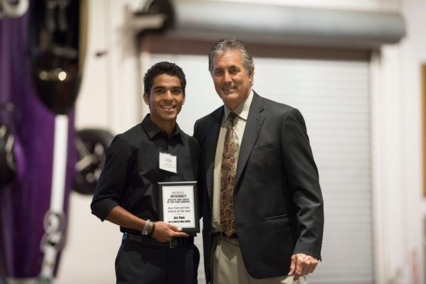 Jose Rubio, Los Alamitos, accepts his award for Boys Track Athlete of the Year at the Register's Athletes of the Year Banquet at Marconi Auto Museum in Tustin on Thursday, June 8, 2017. (Photo by Matt Masin, Orange County Register, SCNG)