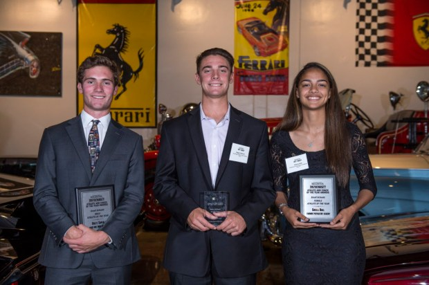 The Orange County Register's Athletes of the Year, from left, small schools boys' athlete Brett Super of Sage Hill, boys' athlete of the year Hagen Danner of Huntington Beach and small schools girls' athlete of the year Cierra Hall at Marconi Auto Museum in Tustin on Thursday, June 8, 2017. (Photo by Matt Masin, Orange County Register, SCNG)