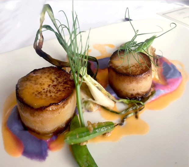 Braised Kohlradi stuns at The Catch in Anaheim and blends in with the scallop course. Menu by executive chef Cory Rapp. (Photo by Cindy Yamanaka, Orange County Register/SCNG)