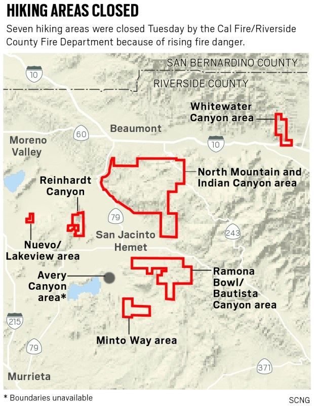 Concerns over wildfires cause 7 Riverside County hiking areas to