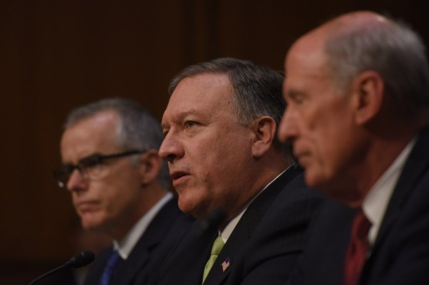 From left, acting FBI director Andrew McCabe, CIA Director Mike Pompeo and Director of National Intelligence Daniel Coats are questioned at a Senate hearing on May 11. MUST CREDIT: Washington Post photo by Jahi Chikwendiu ORG XMIT: 243171