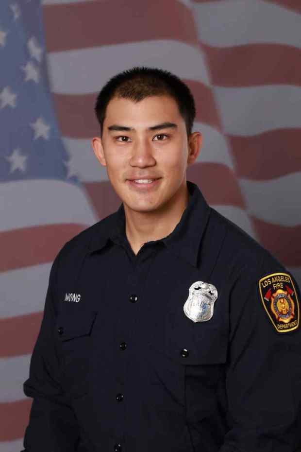 Kelly Wong, 29, fell from a Los Angeles Fire Department aerial ladder on Saturday during a training exercise. He died Monday, LAFD officials said. (Photo courtesy of the Los Angeles Fire Department)