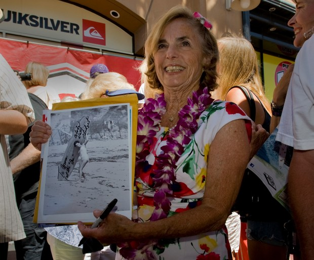 """Kathy """"Gidget"""" Kohner-Zuckerman was inducted in the Surfing Walk of Fame in 2011. She shows off an image of her younger years, when she was the inspiration for fictional character """"Gidget."""" She will be a special guest at an opening reception for an exhibit at the Huntington Beach Art Center on July 22."""