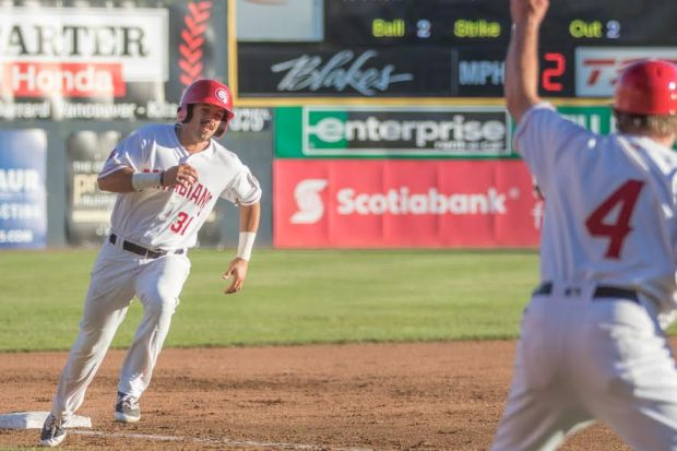 Brock Lundquist, of Fountain Valley, is making strides in baseball as a member of the Toronto Blue Jays affiliate Vancouver Canadians baseball team. Lunquist and childhood friend and teammate Dillon Persinger, were both recently chosen in the Major League Baseball Draft. Photo by Mark Steffans, Courtesy Vancouver Canadians