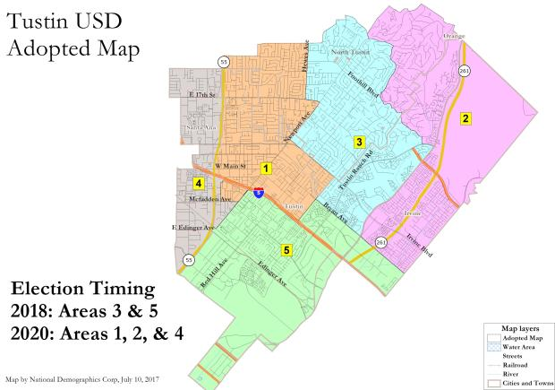 Tustin Unified board members approved one of four by-trustee map proposals on Monday, July 10. (Courtesy of Tustin Unified School District)