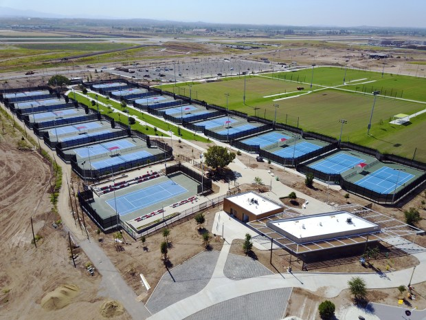 The first 53 acres of the 194-acre Orange County Great Park Sports Park include a soccer stadium, six soccer fields, 25 tennis courts and five sand volleyball courts. (Courtesy of City of Irvine)