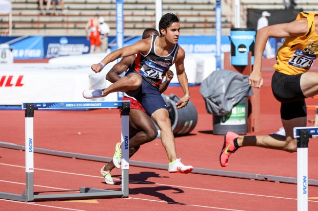 Courbis, shown here competing at the NCAA Track and Field Championships West Preliminary Round in Austin, TX, is determined to defend his Big West title in 2018 (Photo courtesy of Credit Nate Barrett).