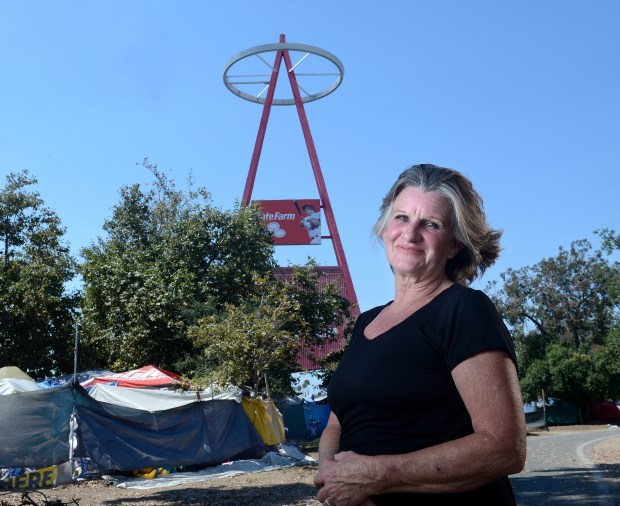 """Angel Mayfield is a homeless advocate who lives in the River View Village encampment. """"There are so many many homeless people who want to change their lives around but they are defined by their past, not by whom they are now,"""" she said.Mayfield is one of the people who live in the homeless encampment along the Santa Ana River in Anaheim, CA on Friday, July 14, 2017. (Photo by Bill Alkofer,Orange County Register/SCNG)"""