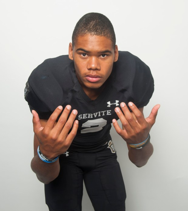 Servite football player Julius Irvin plays safety and is considered one of the top players in the county. in Anaheim, CA on Monday, August 7, 2017. (Photo by Sam Gangwer, Orange County Register/SCNG)