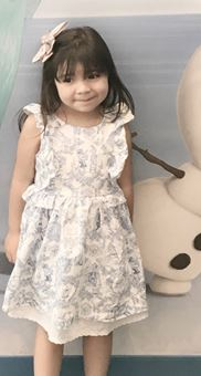 Aleysha Martinez Ruiz, pictured here, was last seen wearing a white dress with a gold zipper on the back. Authorities believe she was abducted by her grandmother Luz Maria Garza-Ramones (Courtesy of San Bernardino County Sheriff's Department).