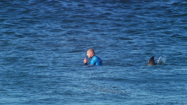 Mick Fanning sits unknowingly as a shark approaches him from behind during a surf contest in South Africa. (Photo courtesy WSL)