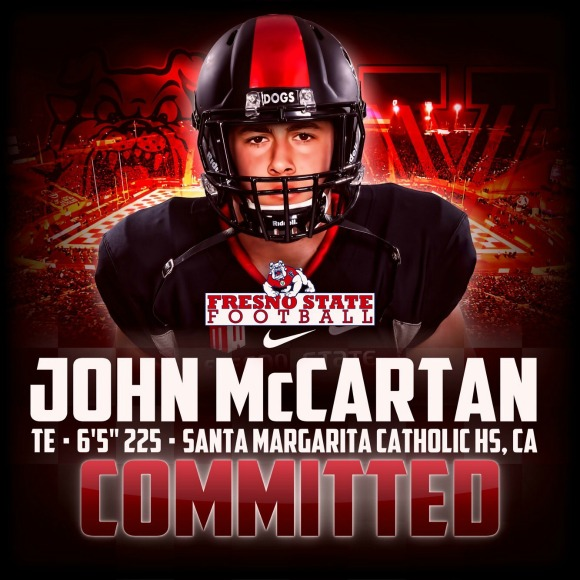 Santa Margarita tight end John McCartan has committed to Fresno State.