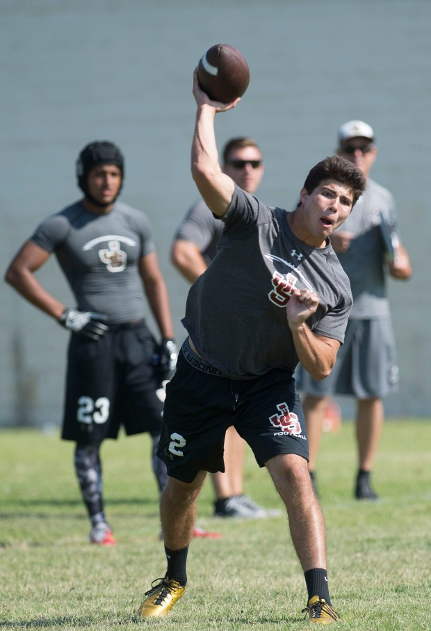 Jserra quarterback Matt Robinson throws during the Battle at the Beach seven on seven football tournament at Edison High School in Huntington Beach on Saturday, July 8, 2017. (Photo by Matt Masin, Orange County Register, SCNG)