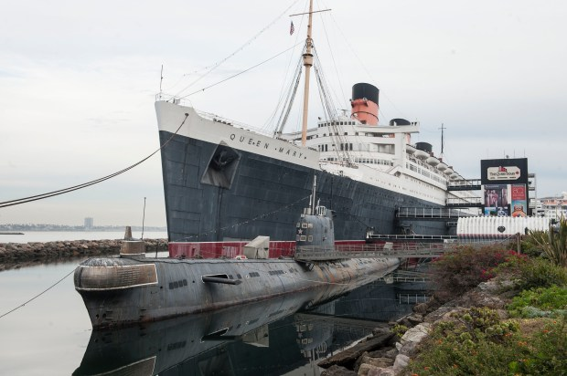 "The Queen Mary in Long Beach is docked alongside the Russian submarine ""Scorpion"". The ship was photographed on October 27, 2016, (Photo by Ana Venegas, Orange County Register/SCNG)"