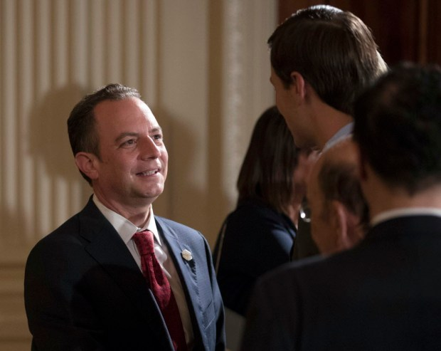 "In this July 26, 2017 file photo, White House Chief of Staff Reince Priebus talks with White House senior adviser Jared Kushner in the East Room of the White House in Washington. New White House communications director Anthony Scaramucci went after Priebus Thursday, July 27, 2017, as a suspected ""leaker"" within the West Wing in a pull-no-punches interview that laid bare the personality clashes and internal turmoil of Donald Trump's presidency. (AP Photo/Carolyn Kaster, File)"
