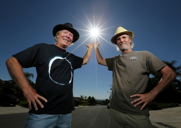 Pat Hays, 62, and Vince Fay, 62, have been friends since 5th grade and are taking a road trip to Idaho to see the solar eclipse in Murrieta Friday, August 4, 2017. FRANK BELLINO, THE PRESS-ENTERPRISE/SCNG