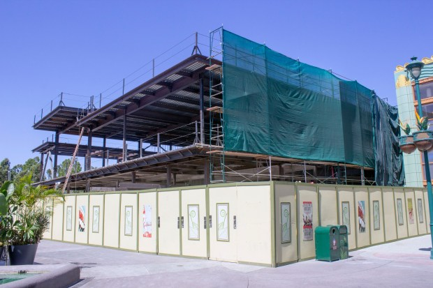 The front side of the building in Downtown Disney that will house the Splitsville Luxury Lanes, featuring a restaurant and a bowling alley, in August. (Photo by Mark Eades, Orange County Register/SCNG)