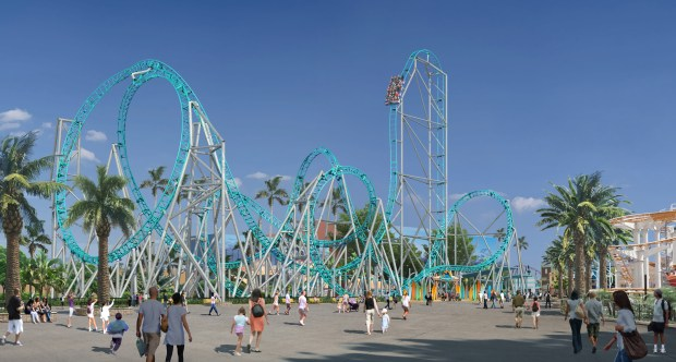 "On Wednesday, Aug. 16, Knott's Berry Farm revealed plans for its newest roller coaster, ""Hangtime."" An artist rendering shows the ride during the day. (Photo courtesy of Knott's Berry Farm)"