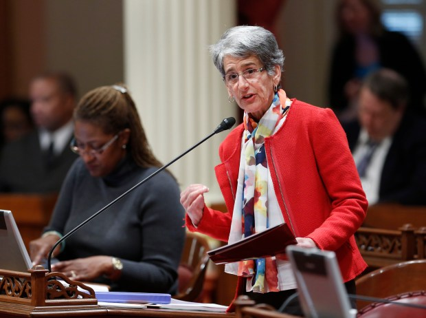State Sen. Hannah-Beth Jackson, D-Santa Barbara, is sponsoring SB 63, a bill to expand parental leave to more California workers. The Senate-passed bill will reach the Assembly floor in the next two weeks. Gov. Jerry Brown vetoed a similar measure last year.(AP Photo/Rich Pedroncelli)