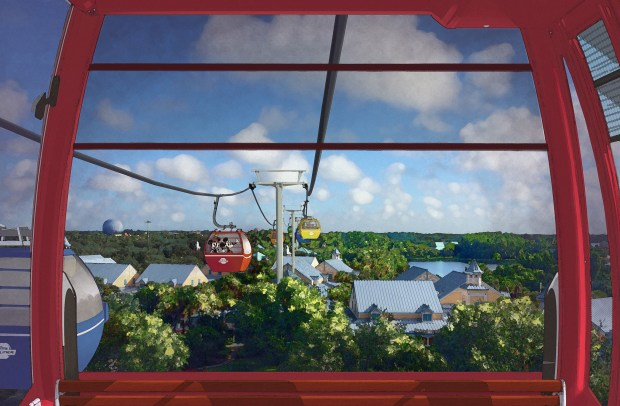 A new transportation system, using aerial trams, was announced to service getting around the Walt Disney World resort in Florida, during the 2017 D23 Expo held in Anaheim in July 2017. The system will allow people to board the trams at several hotels at the resort and easily travel to Epcot. (Courtesy, Walt Disney World Resort)