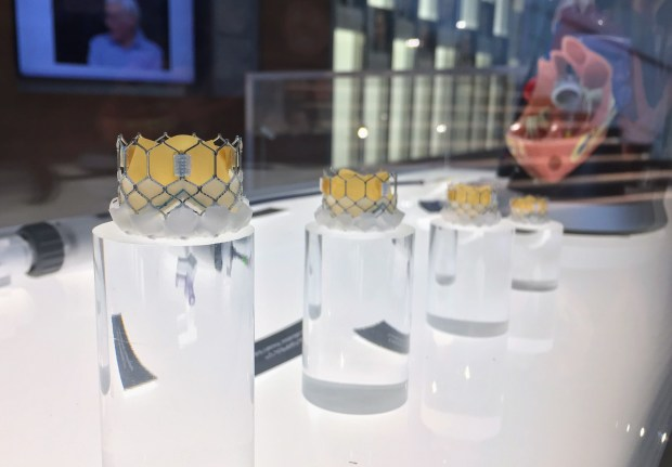 Edwards Lifesciences showcases its signature product Sapien transcatheter heart valve at the brand new Starr Atrium at the global headquarters in Irvine. (Photo by Tomoya Shimura, Orange County Register/SCNG)
