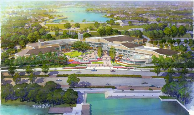 A rendering of what the Woodbridge Village Center would look like after going through a $30 million renovation. (Courtesy of Irvine Co.)