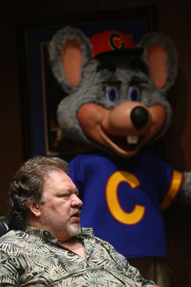 Garner Holt of Garner Holt Productions, who specializes in animatronics, speaks during an interview at his San Bernardino location on Tuesday, Aug. 22, 2017. In back is a Chuck E. Cheese character he created. (Stan Lim, The Press-Enterprise/SCNG)