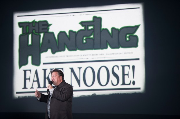 """The Hanging will return with a sub title of """"Fake Noose!"""" for Knott's Scary Farm at Knott's Berry Farm in Buena Park on Thursday, August 31, 2017. (Photo by Matt Masin, Orange County Register, SCNG)"""