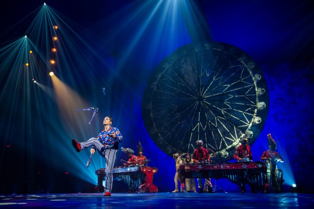 "Jugglers and musicians perform in the touring production of Cirque du Soleil's ""Luzia."""
