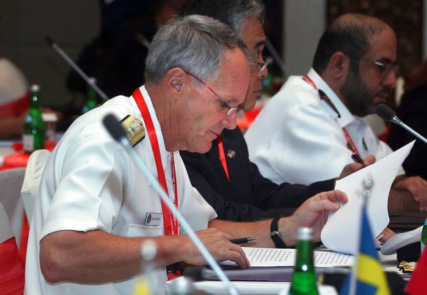 U.S. 7th Fleet Commander Vice Adm. Phillip Sawyer attends the International Maritime Security Symposium in Bali, Indonesia, Thursday, Aug. 24, 2017. Sawyer, the new commander of the U.S. 7th Fleet, who replaced Vice Adm. Joseph Aucoin who was relieved of his command on Wednesday, has thanked the many navies that contacted the fleet with condolences and offers of support following the collision between the USS John. S. McCain and an oil tanker east of Singapore. (AP Photo/Firdia Lisnawati)