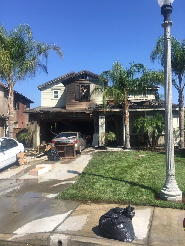 Two homes burned in a fire in Temecula early Saturday, Aug. 19, fire officials said. (Photo courtesy of Kyle Mason)