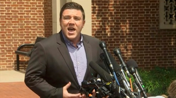 In this frame from video, Jason Kessler, a blogger based in Charlottesville, Va., speaks to the media on Sunday, Aug. 13, 2017. Kessler, who organized the rally in Charlottesville on Saturday that sparked violent clashes between white supremacist groups and counter-protesters tried to hold a news conference, but a crowd booed him and forced him away from the lectern. (AP Photo)