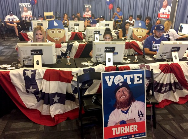 Last month, Pantone 294 disciples wedged inside a Dodger Stadium room and doggedly clicked Justin Turner's name until he had won an All-Star election. Garcia said 78 of them pulled 4-hour shifts. Turner got 20.3 million votes. (Photo by Jayne Kamin-Oncea/Getty Images)