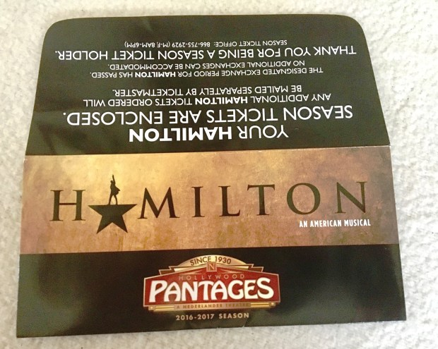 Hollywood Pantages season ticket holders received their Hamilton tickets in this special envelope. Photo by Marla Jo Fisher, the Orange County Register