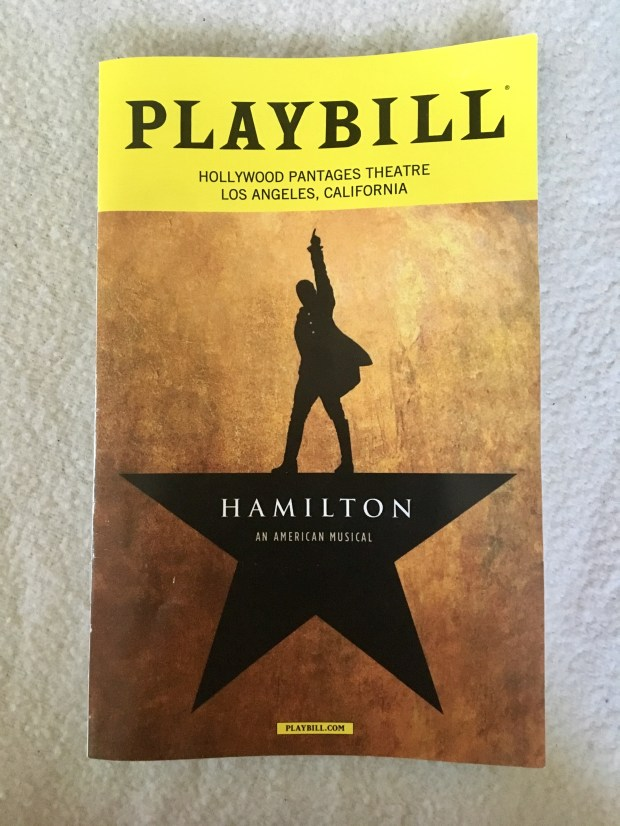 Playbill for the Hollywood Pantages touring version of Hamilton. Photo by Marla Jo Fisher, the Orange County Register