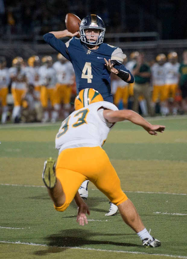 San Juan Hills quarterback Doug Jackson throws the ball during a nonleague game against Edison on Friday night.///ADDITIONAL INFO: hscavanagh.0917- 09/16/16 - PHOTO BY JEFF ANTENORE, CONTRIBUTING PHOTOGRAPHER Ð