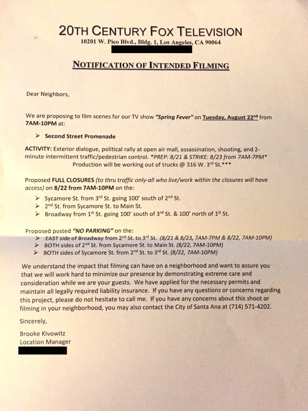 "Employees of businesses on Broadway, Sycamore and Second streets in Santa Ana said 20th Century Fox Television representatives handed them a ""notification of intended filming."" The notice states they are filming scenes for the TV show, ""Spring Fever,"" but ""American Horror Story"" was written in the paperwork."