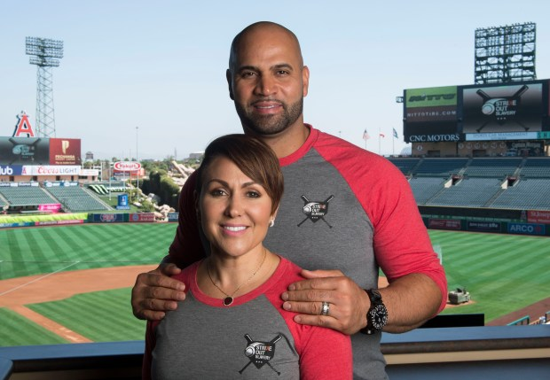 Diedre and Albert Pujols are using their foundation to help combat human trafficking. Photographed at Angel Stadium in Anaheim, CA on Monday, August 21, 2017. (Photo by Kevin Sullivan, Orange County Register/SCNG)