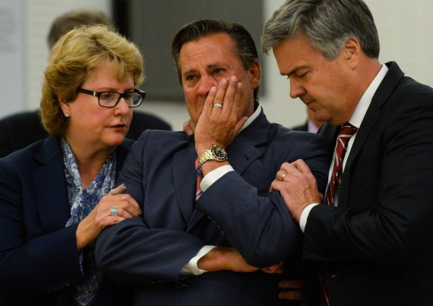 Developer Jeff Burum, center, and his attorneys Jennifer Keller and Stephen Larson react as Burum is found not guilty of all charges in the Colonies corruption case verdict hearing at San Bernardino Superior Court in San Bernardino. Burum was set to speak to the San Bernardino County Board of Supervisors on Tuesday, Sept. 12 (Photo by Rachel Luna, The Sun/SCNG)