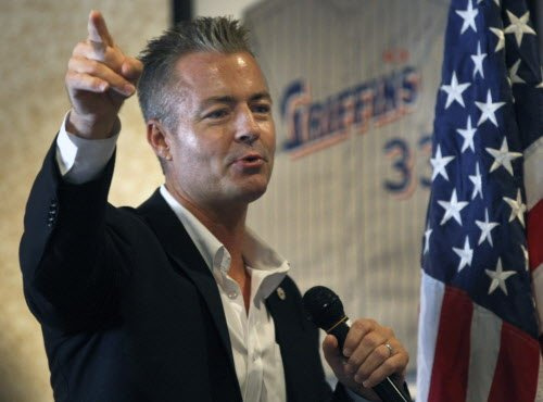 Assemblyman Travis Allen, R-Huntington Beach, addresses the breakfast meeting of the Los Alamitos Chamber. Allen will be running for governor and is leading an initiative drive to put a measure on the ballot repealing the road improvement/gas tax measure recently approved by the Legislature. He is speaking at Griffins Grill in Los Alamitos. Friday August 4, 2017.Photo by Karen Tapia, Contributing Photographer